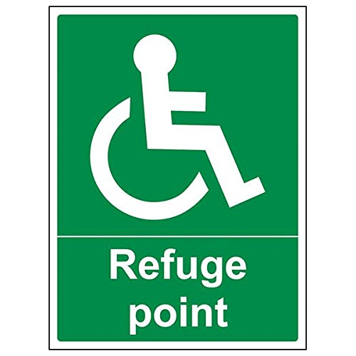 VSafety 17044BC-S'Refuge Point' Sign, Portrait, 300 mm x 400 mm (Pack of 3) from V Safety