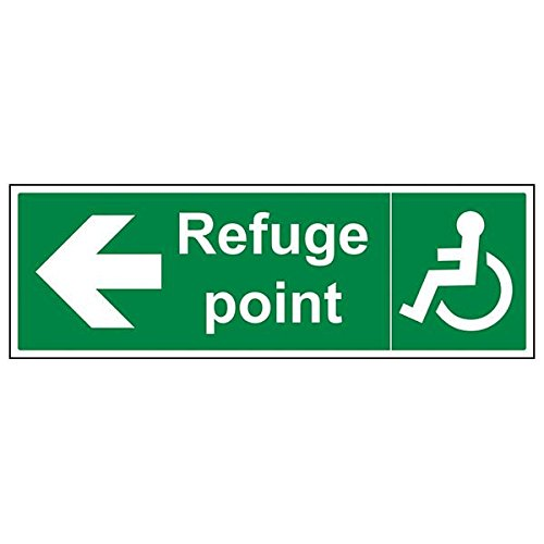 VSafety 17058BP-S'Refuge Point Arrow Left' Sign, Landscape, 600 mm x 200 mm (Pack of 3) from V Safety