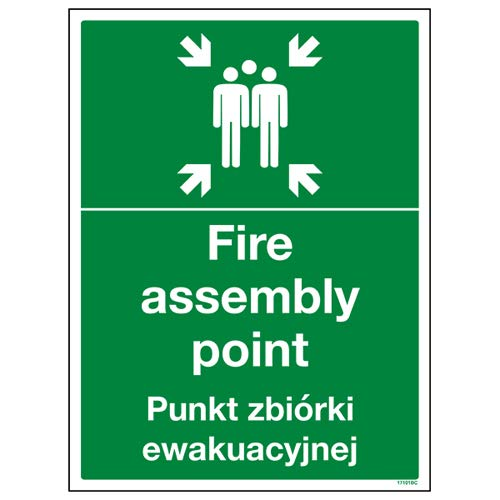 VSafety 17101BC-R English/Polish Fire Assembly Point Sign, 300 x 400mm from VSafety