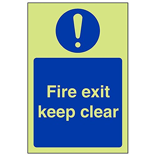 VSafety 18037AG-G'Fire Exit Keep Clear' Sign, Portrait, 100 mm x 150 mm (Pack of 3) from V Safety