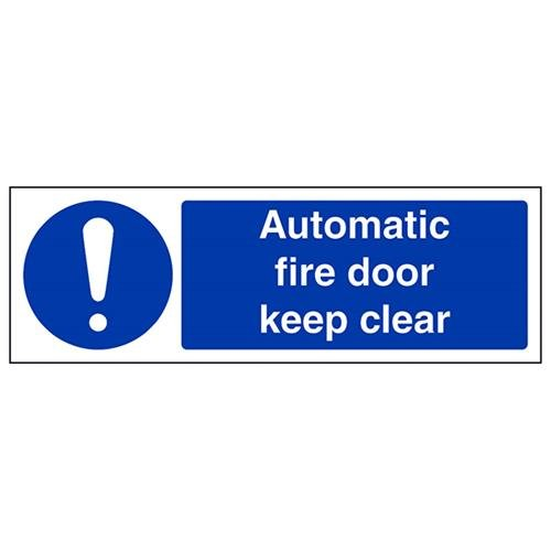VSafety Automatic Fire Door Keep Clear Sign - Landscape - 300mm x 100mm - 1mm Rigid Plastic from V Safety