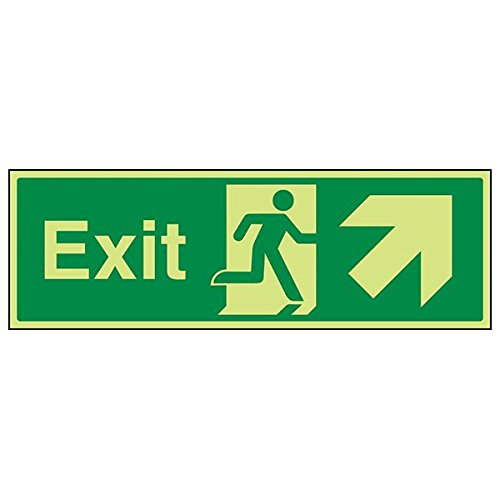 VSafety 21008BJ-G'Exit Arrow Up Right' Sign, Landscape, 450 mm x 150 mm (Pack of 3) from V Safety