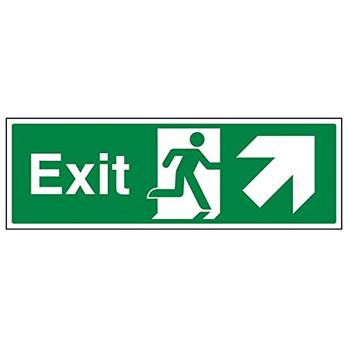 VSafety 21008BJ-S'Exit Arrow Up Right' Sign, Landscape, 450 mm x 150 mm (Pack of 3) from V Safety