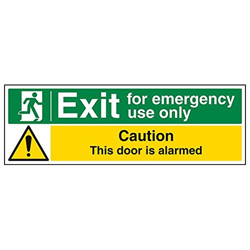 VSafety 21012BP-S'Exit For Emergency Use Only/Door Alarmed' Sign, 600 mm x 200 mm (Pack of 3) from V Safety