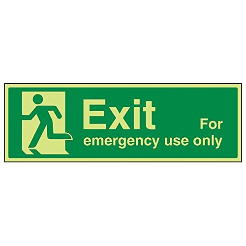 VSafety 21014BJ-R'Exit For Emergency Use Only Man Left' Sign, 450 mm x 150 mm (Pack of 3) from V Safety