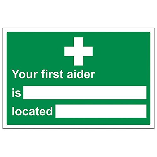 VSafety 31022BA-R'First Aider/Location' Sign, Landscape, 300 mm x 200 mm (Pack of 3) from V Safety