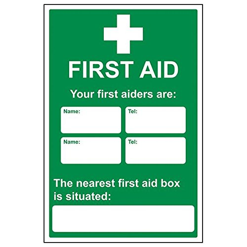 VSafety 31029BH-S'First Aid/First Aiders/Location' Sign, 400 mm x 600 mm (Pack of 3) from V Safety