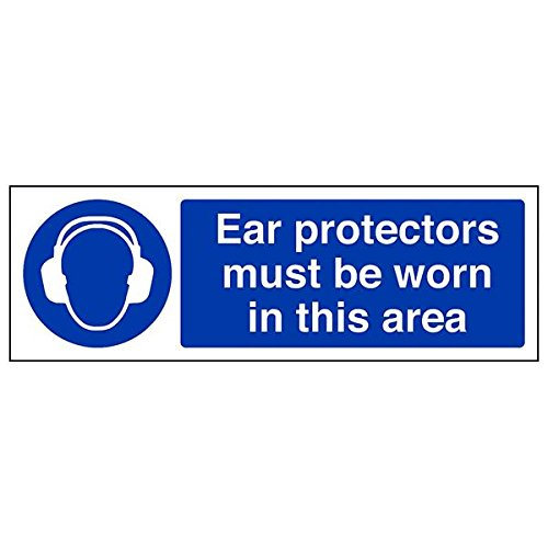 VSafety 41025AX-R'Ear Protectors Must Be Worn In This Area' Sign, 300 mm x 100 mm (Pack of 3) from V Safety