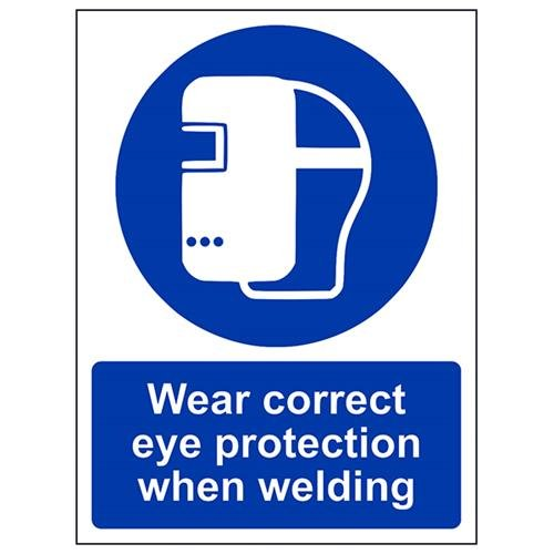 VSafety Wear Correct Eye Protection When Welding PPE Sign - Portrait - 150mm x 200mm - 1mm Rigid Plastic from V Safety