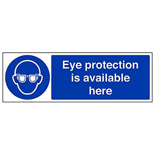 VSafety 41053BJ-R'Eye Protection Is Available Here' Sign, 450 mm x 150 mm (Pack of 3) from V Safety