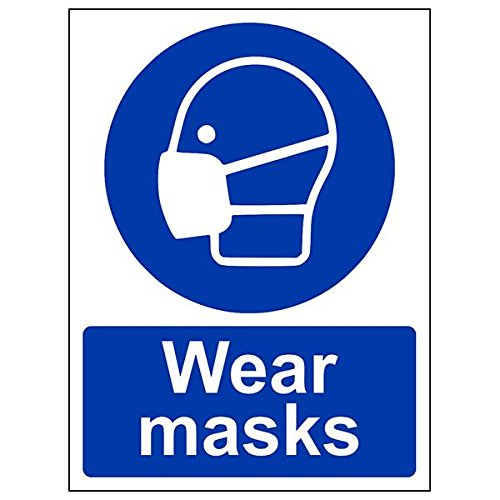 VSafety 41063AN-R'Wear Masks' Sign, Portrait, 150 mm x 200 mm (Pack of 3) from V Safety