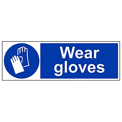 VSafety 41080BP-R'Wear Gloves' Sign, Landscape, 600 mm x 200 mm (Pack of 3) from V Safety
