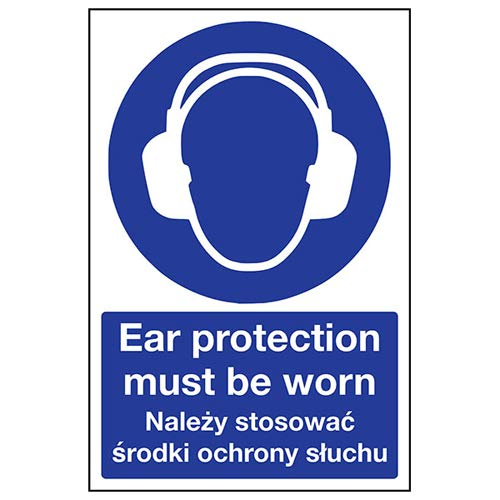 VSafety 41104BC-R English/Polish Ear Protection Must Be Worn Sign, 300 x 400mm from VSafety