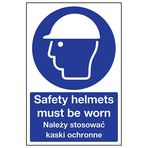 VSafety 41105BC-R English/Polish Safety Helmets Must Be Worn Sign, 300 x 400mm from VSafety