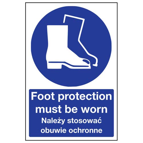 VSafety 41107BC-R English/Polish Foot Protection Must Be Worn Sign, 300 x 400mm from VSafety
