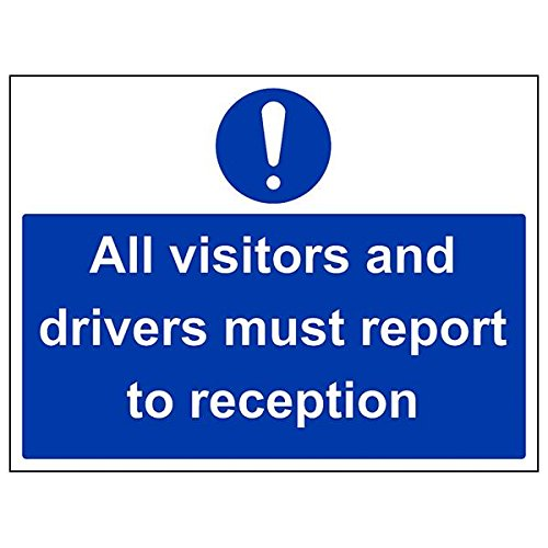 VSafety 43042BF-S'All Visitors/Drivers Report To Reception' Sign, 400 mm x 300 mm (Pack of 3) from V Safety