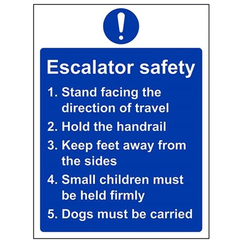 VSafety 43064AN-R Mandatory General Sign, Rigid Plastic, Escalator Safety Notice, Portrait, 150 mm x 200 mm, Blue from VSafety