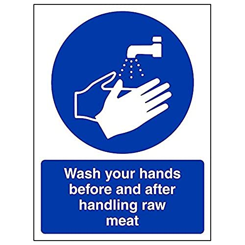 VSafety 44014AN-R'Wash Hands Before/After Handling Raw Meat' Sign, 150 mm x 200 mm (Pack of 3) from V Safety