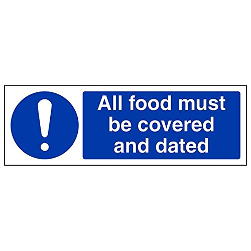 VSafety 44057AX-R'All Food Must Be Covered and Dated' Sign, 300 mm x 100 mm (Pack of 3) from V Safety