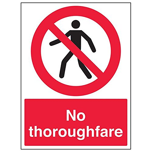 VSafety 52013BC-S'No Thoroughfare' Sign, Portrait, 300 mm x 400 mm (Pack of 3) from V Safety