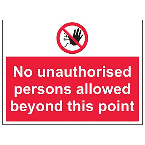 VSafety 52033BF-R'No Unauthorised Persons Beyond This Point' Sign, 400 mm x 300 mm (Pack of 3) from V Safety