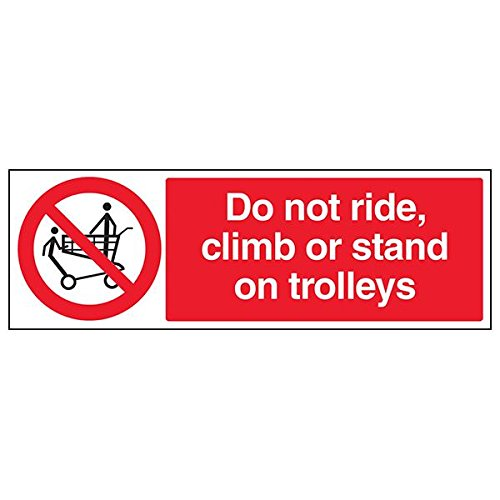 VSafety 53011BJ-R'Do Not Ride, Climb or Stand On Trolleys' Sign, 450 mm x 150 mm (Pack of 3) from V Safety