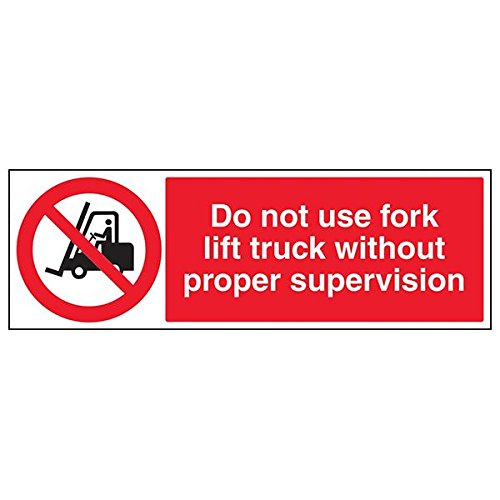 VSafety Signs - 56010BP-R - Prohibition Vehicle Sign - Rigid Plastic - Do Not Use Fork Lift Truck Without Supervision - 600 x 200mm - 3 Pack from V Safety