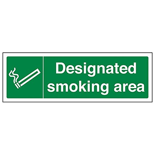 VSafety Designated Smoking Area Prohibition Sign - Landscape - 300mm x 100mm - 2mm Rigid Plastic from V Safety