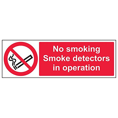 VSafety 57007BJ-R'No Smoking. Smoke Detectors In Operation' Sign, 450 mm x 150 mm (Pack of 3) from V Safety