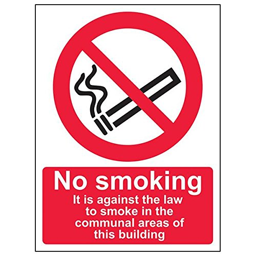 VSafety 57023AN-R'Against The Law To Smoke/Communal Areas' Sign, 150 mm x 200 mm (Pack of 3) from V Safety