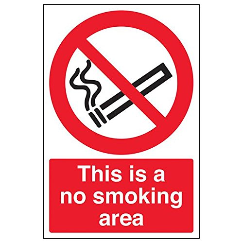 VSafety 57027AU-R'This Is A No Smoking Area' Sign, Portrait, 200 mm x 300 mm (Pack of 3) from V Safety