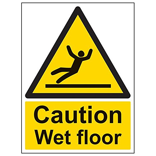 VSafety 63003BC-R'Caution Wet Floor' Sign, Portrait, 300 mm x 400 mm (Pack of 3) from V Safety