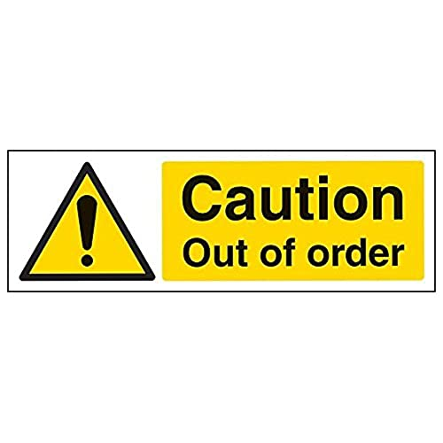 VSafety 63019AX-R'Caution Out of Order' Sign, Landscape, 300 mm x 100 mm (Pack of 3) from V Safety