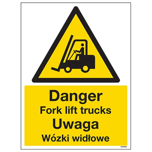 VSafety 64039BC-R English/Polish Danger Fork Lift Trucks Sign, 300 x 400mm from VSafety