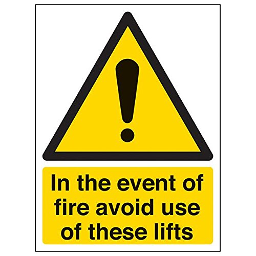VSafety 65002AN-R'In Event Of Fire Avoid Use Of These Lifts' Sign, 150 mm x 200 mm (Pack of 3) from V Safety