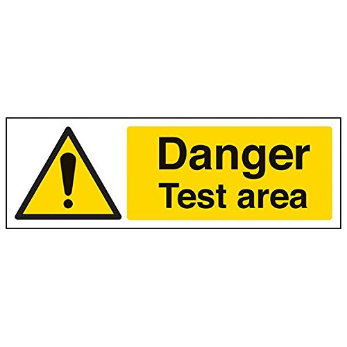 VSafety 65032AX-R'Danger Test Area' Sign, Landscape, 300 mm x 100 mm (Pack of 3) from V Safety