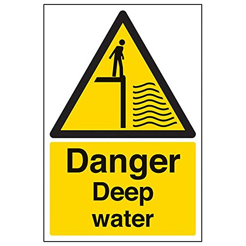 VSafety 66004AU-R'Danger Deep Water' Sign, Portrait, 200 mm x 300 mm (Pack of 3) from V Safety