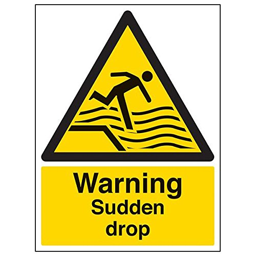 VSafety 66005BC-R'Warning Sudden Drop' Sign, Portrait, 300 mm x 400 mm (Pack of 3) from V Safety