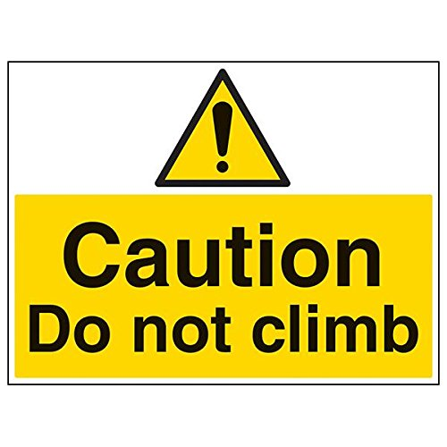 VSafety 67044BR-R'Caution Do Not Climb' Sign, Landscape, 600 mm x 450 mm (Pack of 3) from V Safety