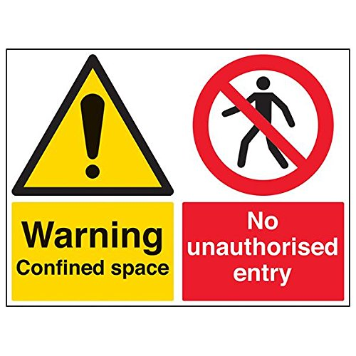 "VSafety Signs - 67052BR-R - Warning Building Sign - Rigid Plastic - ""Warning Confined Space/No Unauthorised Entry"" - 600 x 450mm - Landscape - 3 Pack from V Safety"