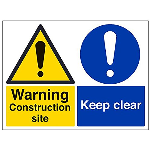 VSafety 67060BF-S'Warning Construction Site/Keep Clear' Sign, 400 mm x 300 mm (Pack of 3) from V Safety