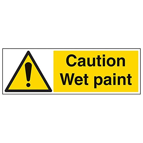VSafety 67077BP-R'Caution Wet Paint' Sign, Landscape, 600 mm x 200 mm (Pack of 3) from V Safety