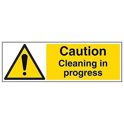 VSafety 67112BP-R'Caution Cleaning In Progress' Sign, Landscape, 600 mm x 200 mm (Pack of 3) from V Safety