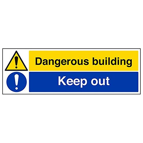 VSafety 67143BP-R'Dangerous Building/Keep Out' Sign, Landscape, 600 mm x 200 mm (Pack of 3) from V Safety
