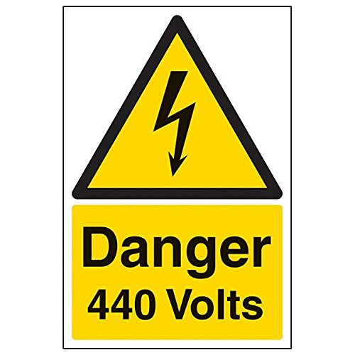 VSafety 68009AU-S'Danger 440 Volts' Sign, Portrait, 200 mm x 300 mm (Pack of 3) from V Safety