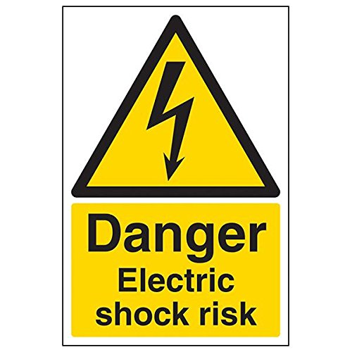 VSafety 68019AU-S'Danger Electric Shock Risk' Sign, Portrait, 200 mm x 300 mm (Pack of 3) from V Safety