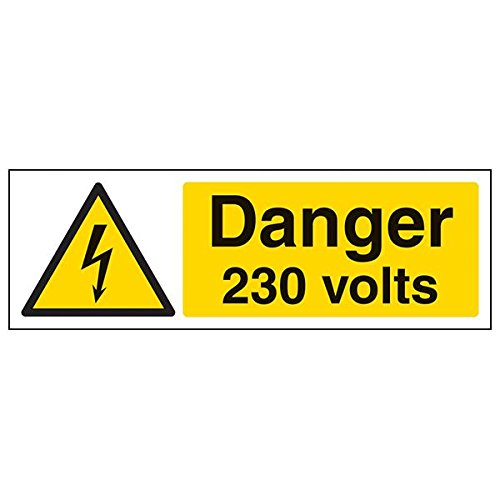 VSafety 68034AX-R'Danger 230 Volts' Sign, Landscape, 300 mm x 100 mm (Pack of 3) from V Safety
