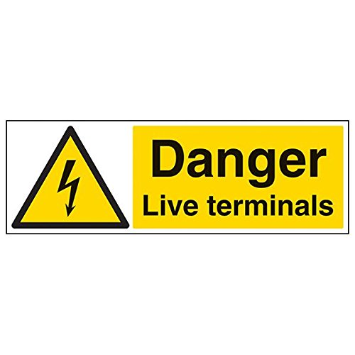 VSafety 68039BP-S'Danger Live Terminals' Sign, Landscape, 600 mm x 200 mm (Pack of 3) from V Safety