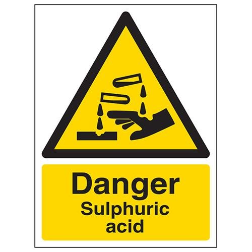 VSafety Danger Sulphuric Acid Warning Sign - Portrait - 150mm x 200mm - Self Adhesive Vinyl from V Safety