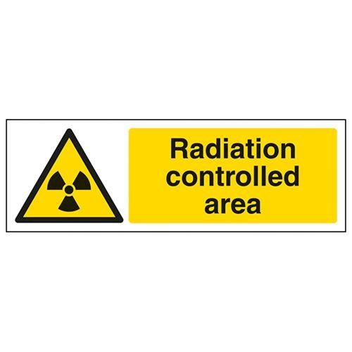 VSafety Radiation Controlled Area Warning Sign - Landscape - 300mm x 100mm - Self Adhesive Vinyl from V Safety